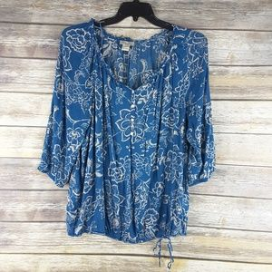 Lucky Brand 1x floral top shirt blouse plus